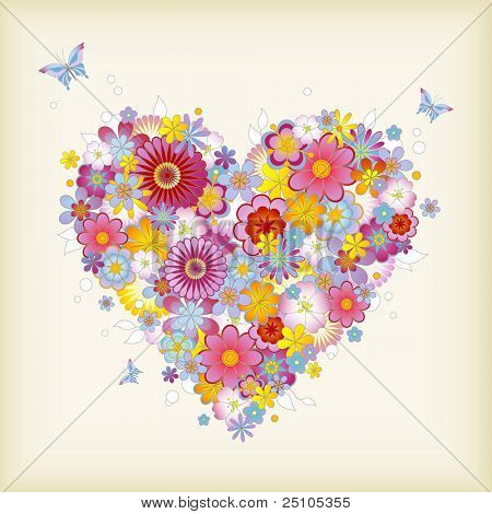 floral heart with butterflies - perfect for Valentine's Day