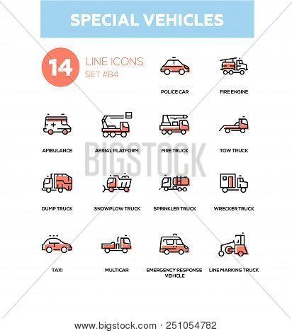 Special Vehicles - Line Design Icons Set. Police Car, Fire Engine, Ambulance, Aerial Platform, Tow,