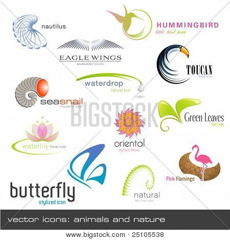 vector icons: animals and nature, 12 pieces