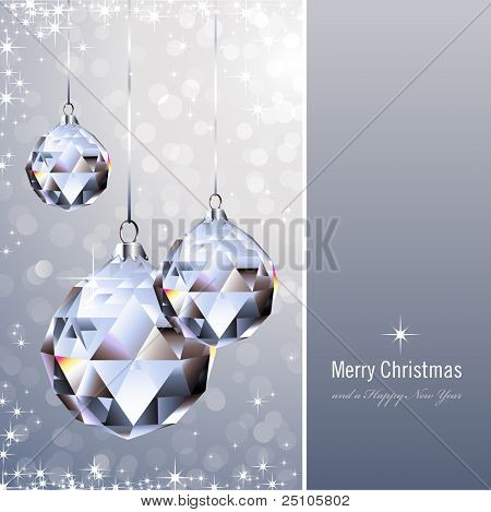 christmas background with crystal ornaments against a glittering background (background behind the panel is complete)