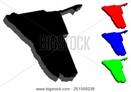 3d Map Of Namibia (republic Of Namibia) - Black, Red, Blue And Green - Vector Illustration