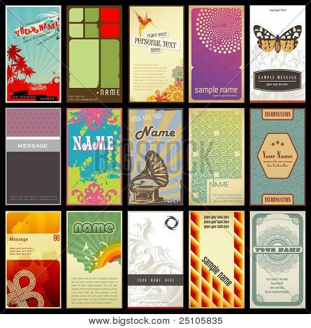 set of 15 detailed vertical business cards - different retro styles