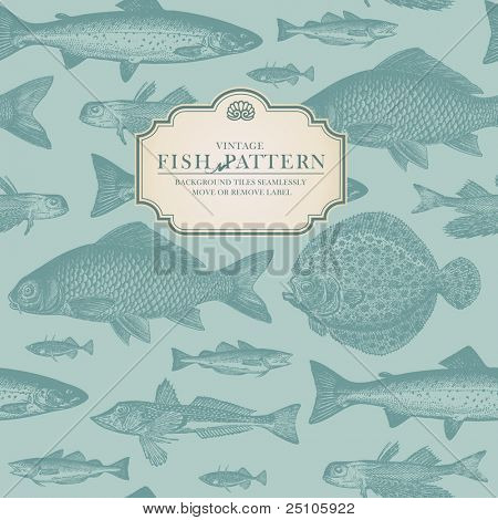 seamlessly tiling retro fish pattern (plus label for usage as card or cover)