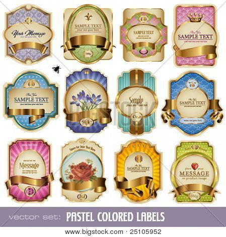 vector set: pastel-colored labels with golden elements - 12 items