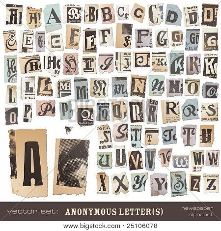 vector set: alphabet based on vintage newspaper cutouts - ideal for your threatening letters, ransom notes or similar ...