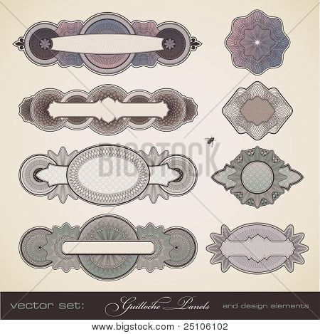 vector set: guilloche panels - different intricate design elements for certificates, coupons, diplomas and similar documents