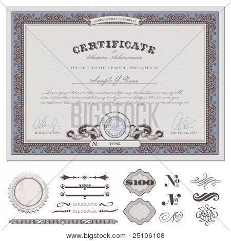 modelo de certificado ou cupom com borda detalhada e elementos de design adicional (formato DIN)