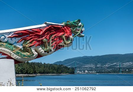 Vancouver, Canada - July 15, 2018: Monument Displaying The Figurehead Of Ss Empress Of Japan Looking