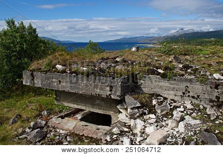 Old War Fortifications In Norway Fiord, Evenes
