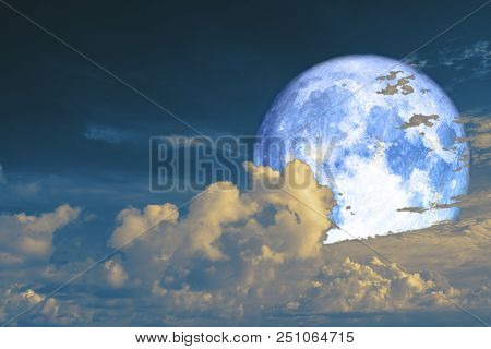 Full Cold Moon Back Silhouette Cloud In Night Sky