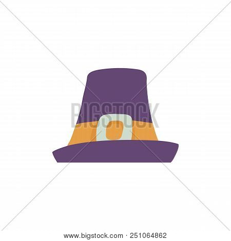 Violet Pilgrim Hat With Wide Brim In Flat Style Isolated On White Background - Man Cap With Yellow B