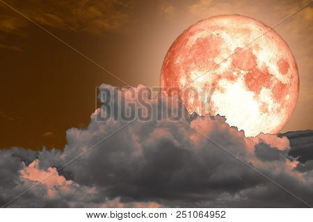 Super Full Moon Back Silhouette And Colorful Sky