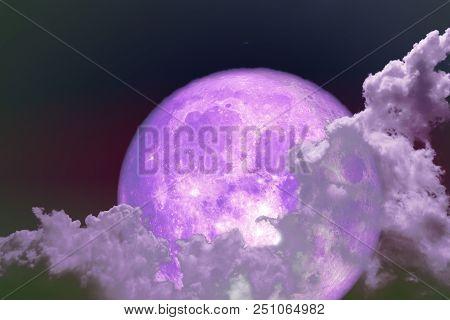 Super Full Purple Moon Back Silhouette Colorful Sky