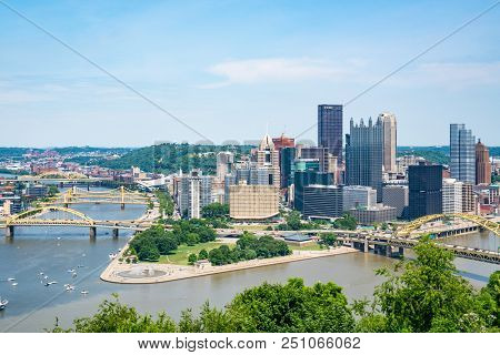 Pittsburgh, Pa - June 16, 2018: Pittsburgh, Pennsylvania Skyline  Overlooking The Allegheny Monongah