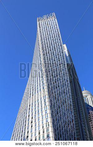 Dubai, Uae - November 23, 2017: Cayan Tower Building In Dubai Marina, Uae. The Residential Skyscrape