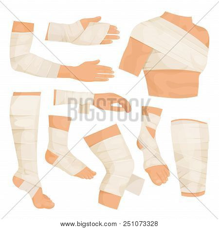 Bandaged Body Parts. Strips Of Woven Material Set To Bind Up A Wound, To Protect Injured Part Of The
