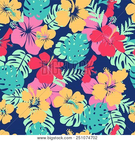 Pattern Of Tropical Leaves And Flowers Hibiscus Flower Hawaii Summer Background. Vector Illustration