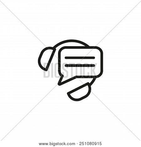 Call Operator Line Icon. Message Cloud, Headphones, Service. Call Center Concept. Vector Illustratio