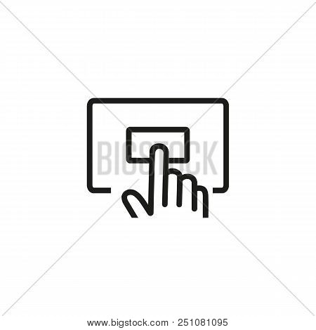 Online Order Line Icon. Pushing Button, Calling, Hand. Delivery Concept. Vector Illustration Can Be