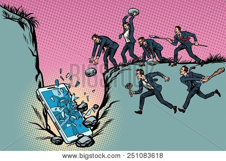 Savages Businessmen Kill A Smartphone. Politics And Censorship. People Against Technological Progres