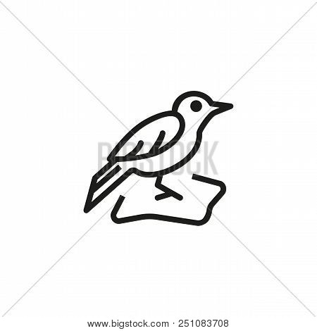 Blackbird Line Icon. Animal, Nestling, Ornithology. Nature Concept. Vector Illustration Can Be Used