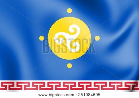 3d Flag Of Ust-orda Buryat Okrug, Russia. 3d Illustration.