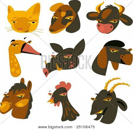 cattle farm domestic animal set: cat, dog, cow, goose, pig, sheep, horse, chicken and goat