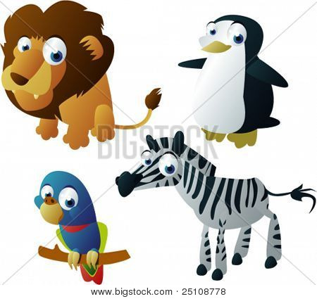 vector animals set 8: lion, penguin, parrot and zebra