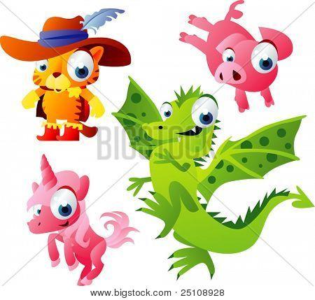 vector animal set 50: cat, piglet, dragon, unicorn