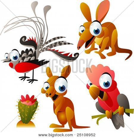 vector animal set 65: australian: lyrebird, opossum, kangaroo, cockatoo