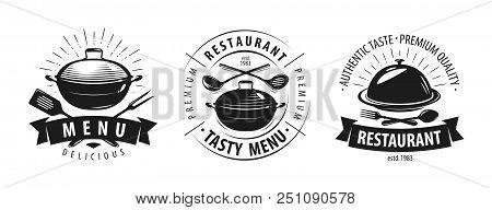 Restaurant, Cafe Logo Or Label. Emblems For Menu Design. Vector Illustration Isolated On White Backg