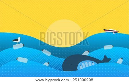 Poster With Ecological Theme: Plastic Pollution In The Ocean. The Whale With Plastic Bottles In Stom