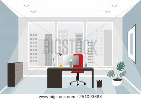 Office Interior Concept. Flat Style. Modern Business Workspace With Office Furniture: Chair, Desk An