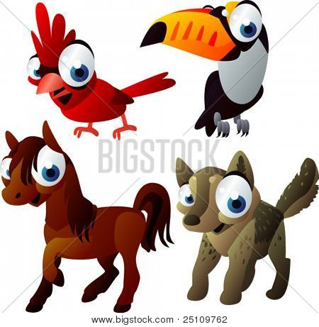 vector animal set 221: horse, toucan, cardinal bird, wolf