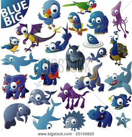 extra big vector blue animal set