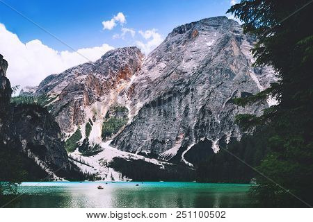 Braies Lake (lago Di Braies) At Summer. Largest Natural Lake In Dolomites, South Tyrol, Italy, Europ
