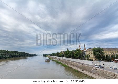 Szeged, Hungary - July 4, 2018: Szeged City Center Seen From Tisza River, With A Highlight On Szeged
