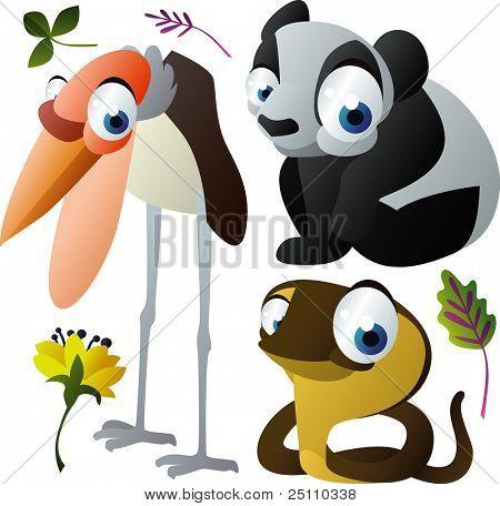 vector animals: marabou, panda, cobra