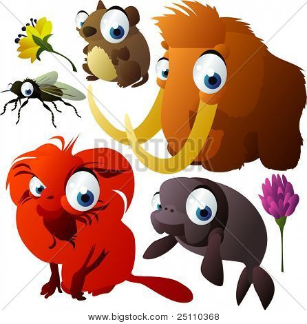 vector animals: vole, fly, mammoth, tamarin, sea cow