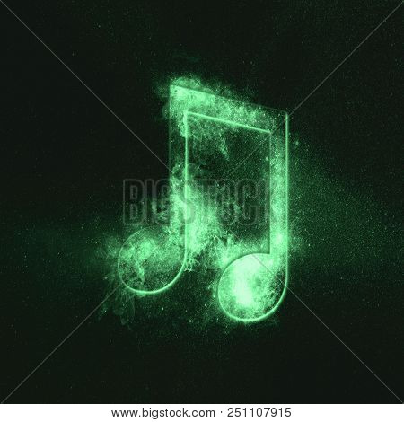 Beamed Eight Music Note Symbol. Green Symbol