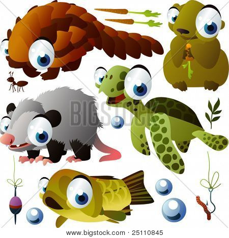vector animals: pangolin, marmot, opossum, turtle, fish