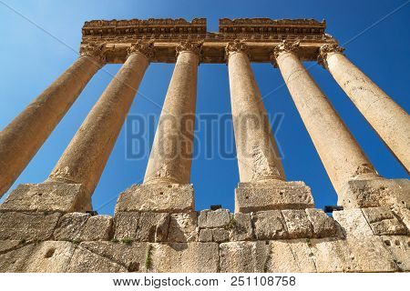 The High Columns Of The Jupiter Tempel Of Baalbek From Low Angle Viewpoint, Lebanon