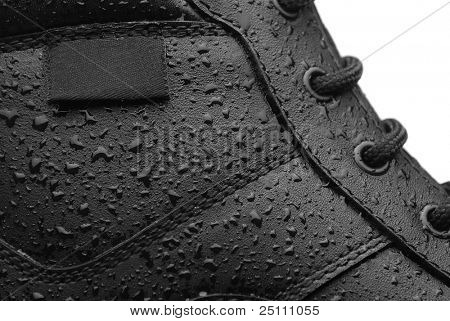 Close-up shot of a leather waterproof boot