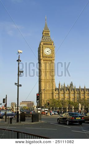 A view of Big Ben on a sunny day. London.