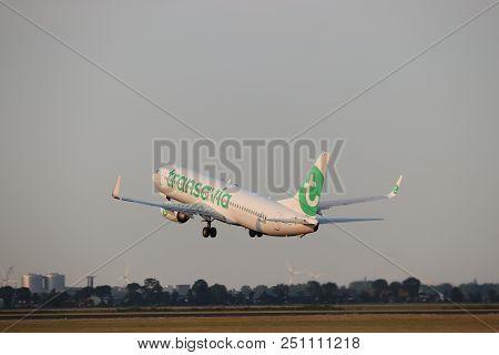 Amsterdam The Netherlands - July 26th 2018: Ph-hze Transavia Boeing 737-800 Takeoff From Polderbaan