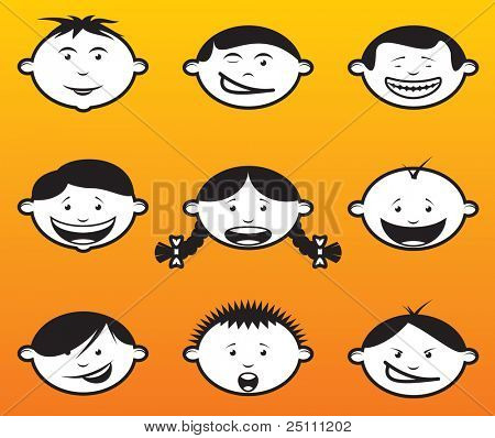 Illustration of children faces / heads in different emotions.
