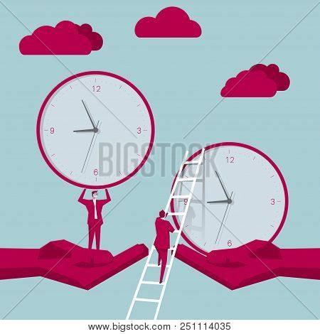 Businessman Climbs The Clock From The Ladder,clock In The Hand. The Background Is Blue.