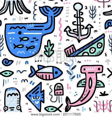 Marine Life Boundless Background. Octopus, Moray, Hammerhead Fish, Whale, Anchor, Ship. Handdrawn Na