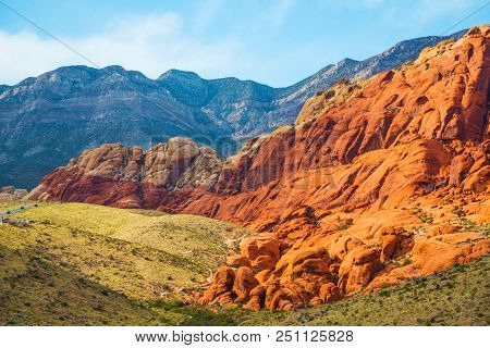 Red Rock Canyon Near Las Vegas, Nevada. Views From Red Rock Canyon, Nevada. Rocky Desert Landscape A