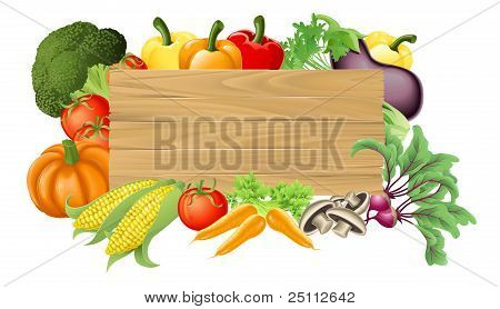 Illustration of a wooden sign surrounded by fresh vegetables poster